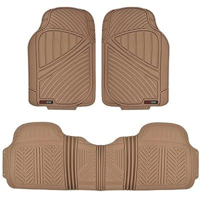Motor Trend FlexTough Baseline - Heavy Duty Rubber Car Floor Mats, 100% Odorless & BPA Free, All Weather (Tan Beige) - MT773BGAMw1: Automotive