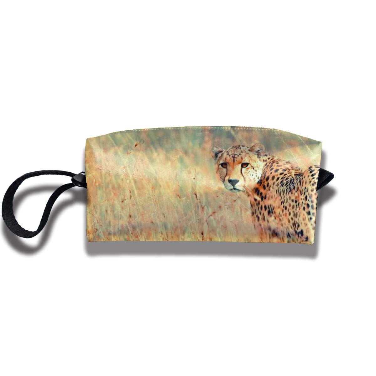 Travel Toiletry Pouch Leopard Shaving Kit Make-up Bag with Handle,Portable Organizer Receive Cosmetic Storage Case for Women and Men