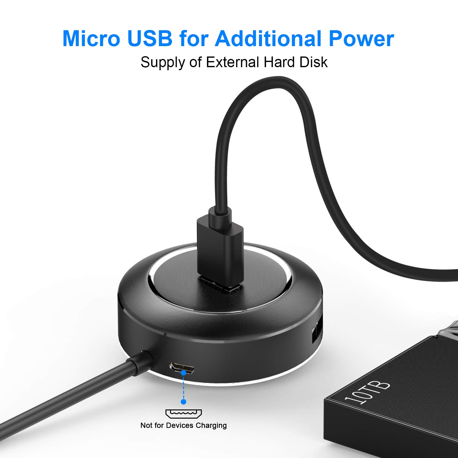 USB 2.0 Hub, USB C Hub, AOJI USB C to USB 3.0 Adapter, 1.5A Fast Charging and 5Gbps Data Transmission Speed with LED Indicator for MacBook Pro/Air, Chromebook, Surface Pro