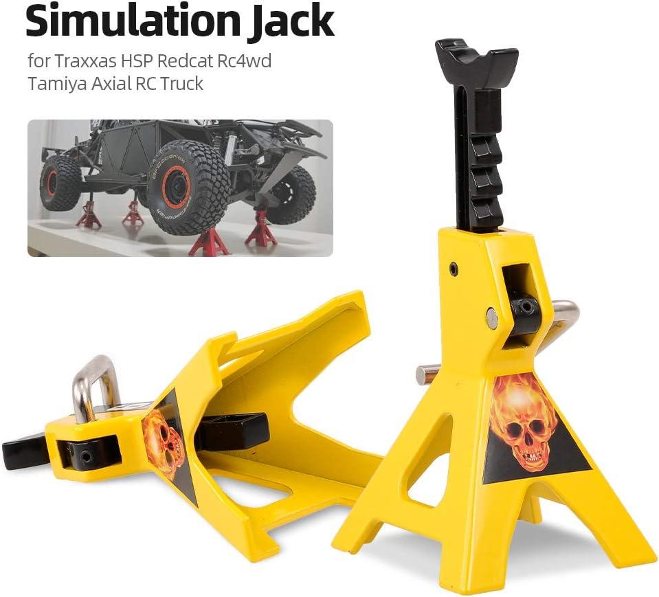 Focket 6 TON Jack Stand 2 Pezzi di Regolazione Dellaltezza Portatile in Metallo RC Jack Stand Strumento di Riparazione Supporto per Simulazione Jack Toy Stand per RC 4WD D90 CC01 SCX10 Camion RC