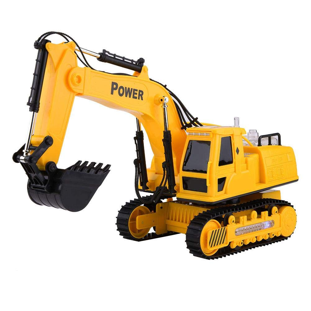 110V RC Excavator Digger Construction Tractor Truck Colorful Light Music Car Vehicle Kids Toy (12 Channels ), Can Be Rotate 680 Degrees(US Plug) Wal front