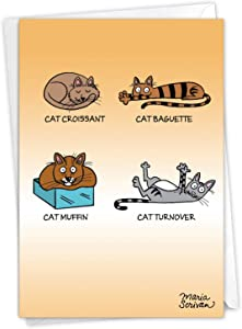 NobleWorks - Cat Food - Funny Pet Cat Happy Birthday Card with Envelope C6968BDG