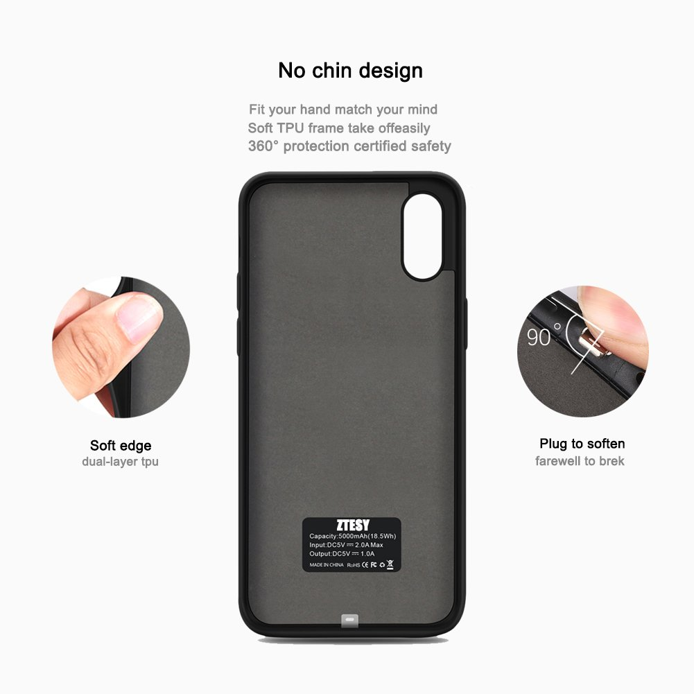 iPhone X Battery Case, ZTESY iPhone X 5000mAh Capacity Extended Charger Case Rechargeable Charging Case with Kickstand for iPhone X -Black by ZTESY (Image #4)