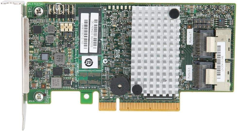 ASHATA SAS Controller Card 8-Port SATA+SAS Ports Expansion Card,LSI 9267-8i 2208 6Gb//s 512MB PCI-E 2.0 8Port SATA//SAS RAID0//1//10 Controller Card Low Baffle