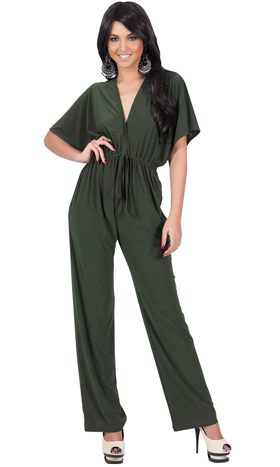 4a65c6c08089 Amazon.com  KOH KOH Womens Short Kimono Sleeve One Piece Jumpsuit Cocktail  Romper Pant Suit  Clothing