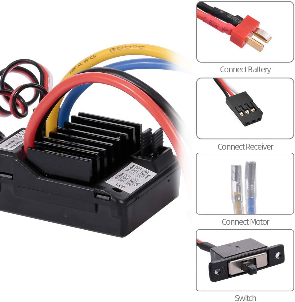 Godyluck AX-D60A 60A Waterproof Brushed ESC Speed Controller for 1//10 RC Car Off-road Truck RC Boat 2S LiPo 6-8S NiMh Battery