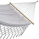 American Deluxe Style Cotton Handmade Hammock with Hardwood Spreader Bar and crochet Border by Mayan Artisans. Soft, Comfortable and Best Quality, Mexican Neutral Color Double Size (XL), High Capacity