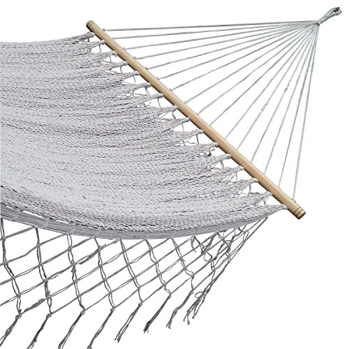 American Deluxe Style Cotton Handmade Hammock with Hardwood Spreader Bar and crochet Border by Mayan Artisans. Soft, Comfortable and Best Quality, Mexican Neutral Color Double Size XL , High Capacity
