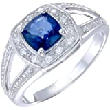 Sterling Silver Created Blue Sapphire Ring (1 CT) In Size 7
