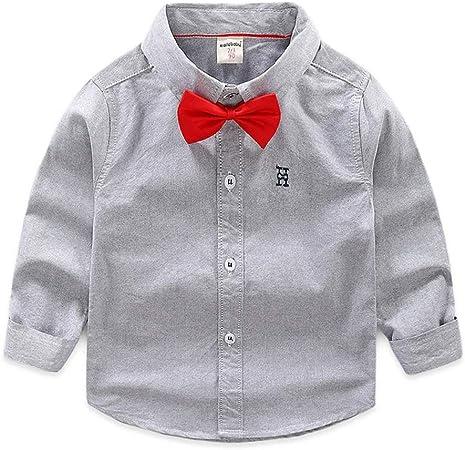 Weentop Camisa de Color Puro para niños Camisa de Manga Larga con Pajarita Botones Traje Ropa para niños Niños pequeños (Color : Gris, tamaño : 90): Amazon.es: Hogar