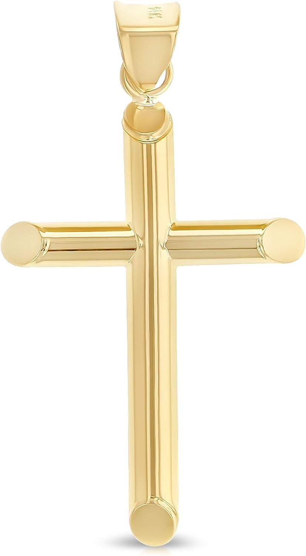 Ioka - 14K Yellow Gold Classic Tube Cross Religious Polished Charm Pendant For Chain