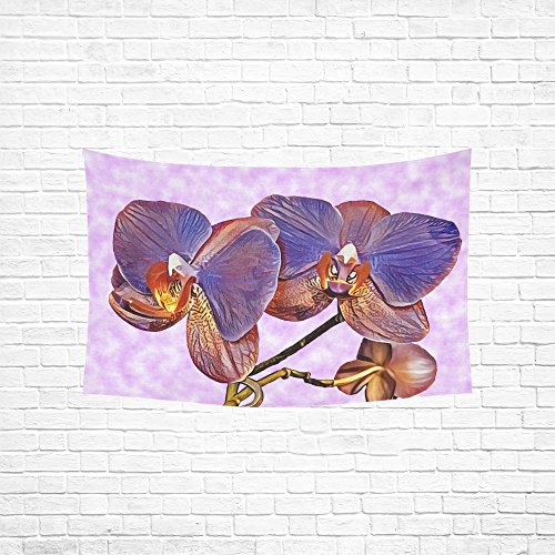 (WUTMVING Tapestry Orchid Flower Purple Plant Flora Hippie Tapestries Wall Hanging Flower Tapestry Wall Hanging Dorm Decor For Living Room Bedroom 60 X 40 Inch)