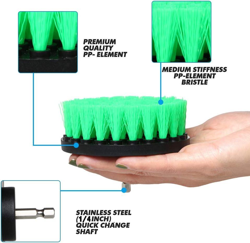 10 cepillos Grandes de 5 cm a 12,5 cm para Taladro y Espeso para Limpiar el Taladro el/éctrico la Cocina los Azulejos y Las Ventanas el Coche Rain Queen el ba/ño