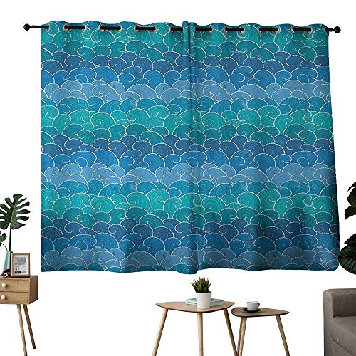 NUOMANAN backout Curtains for Bedroom Nautical,Waves Cartoon Sea Shipping Transport Ornament Nature Waterscape,Blue Teal Turquoise,Complete Darkness, Noise Reducing Curtain 42