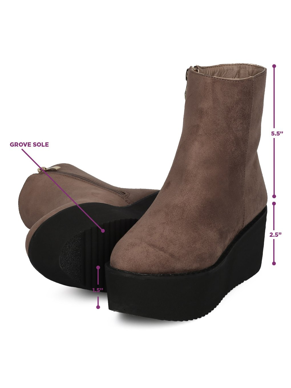 Indulge Hebe-I Women Round Toe Platform Creeper Ankle Bootie HE66 - Taupe Faux Suede (Size: 7.0) by Indulge (Image #5)