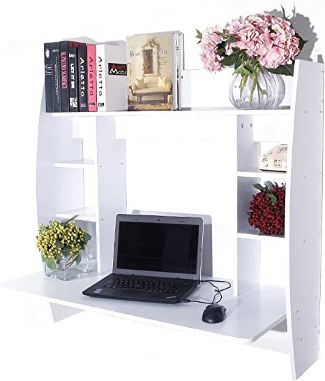 Floating Table with Storage Shelf Wall Mount Type Computer Desk Home Furniture