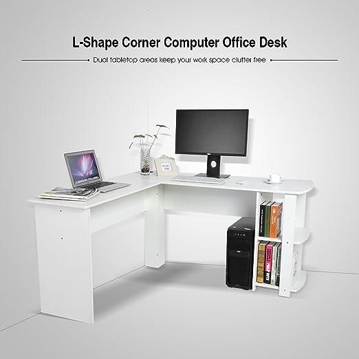 Schreibtisch Computer Eckschreibtisch Bürotisch Regal Winkel PC Büro Tisch Weiß