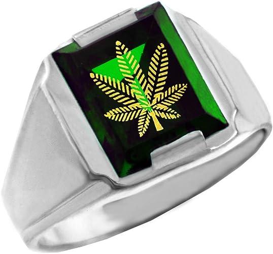 Sterling Silver Marijuana Pot Leaf Cannabis Ring 7mm