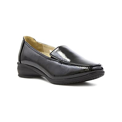 216a7fdf3c1 Dr Keller Womens Black Wide Fit Patent Loafer Shoe - Size 8 UK - Black
