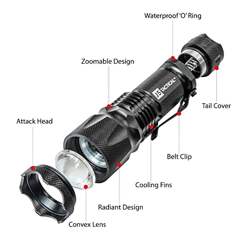 J5 Tactical V1-Pro Flashlight zoomable design