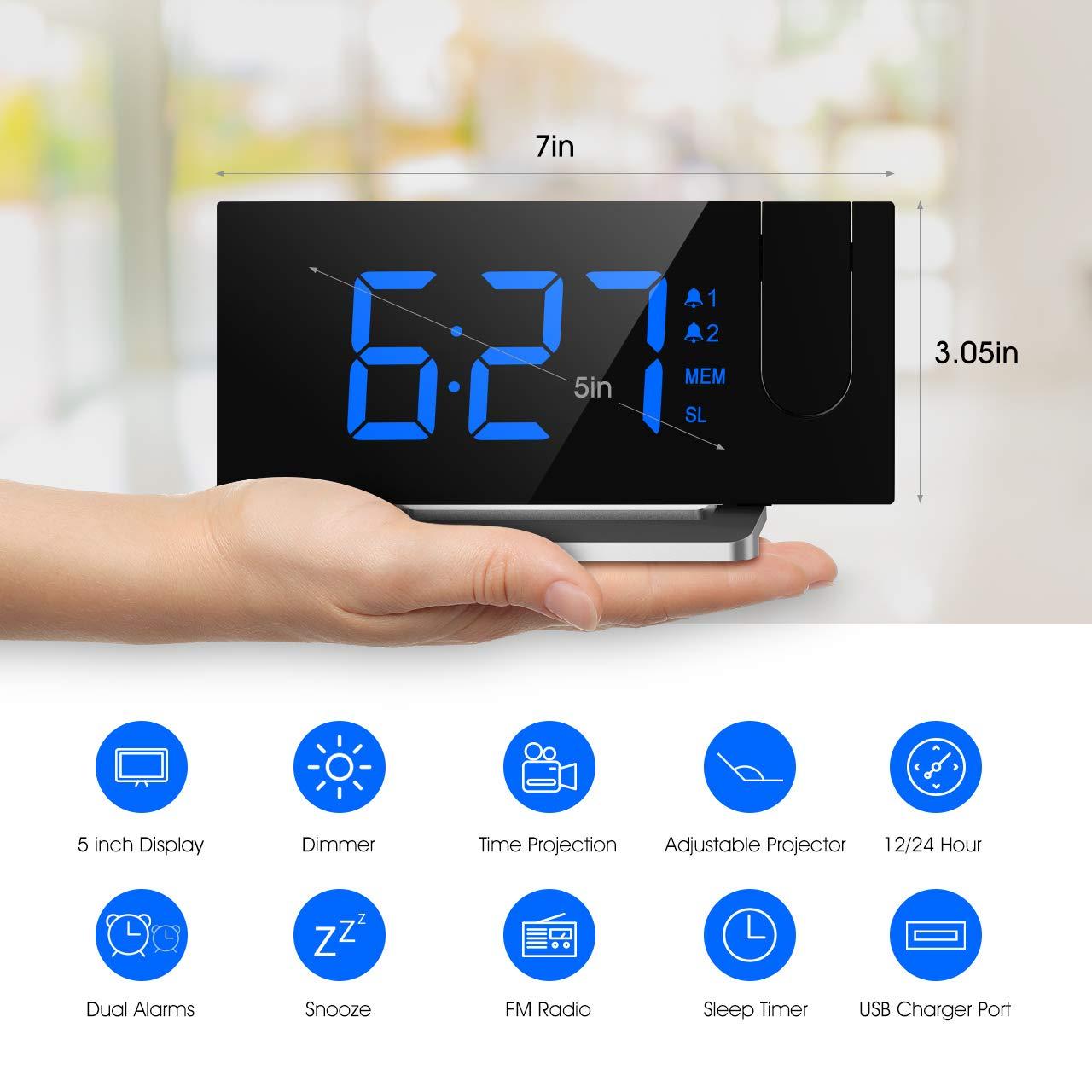 Mpow Radio R/éveil /à Projection FM avec Double Alarmes Horloge Num/érique USB Minuteur de Mise en Veille 12//24h Grand Ecran LED avec Gradateur Am/élior/ée Fonction Snooze