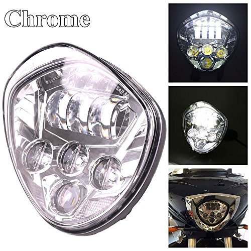 HOZAN 7inch 60W Chrome Projector LED Motorcycle Headlamp Assembly for Victory Cross Country Series Vegas Jackpot ()