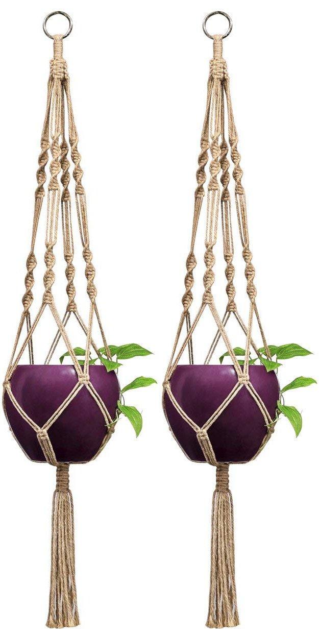 Mkono 2 Pcs Macrame Plant Hangers Indoor Outdoor Hanging Planter Basket Jute Rope 4 Legs 40 Inch