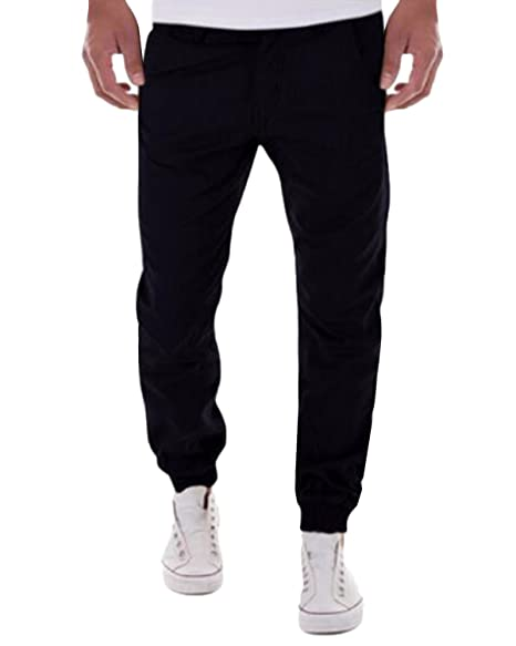 ebfac7a71bef MODCHOK Men's Drawing Elastic Waistband Chino Foot Pants Long Cargo  Trousers (S, ...