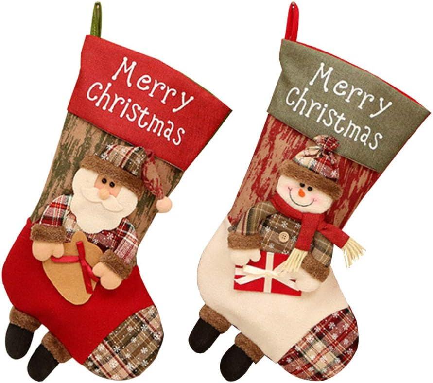2 Piezas Calcetín De Navidad Bolsa De Regalo Medias Navidad Papá Noel/Muñeco Nieve Creativos Calcetines Decorativos Decoración Fiesta De Navidad Accesorios(1*Santa Claus+1*Muñeco De Nieve)