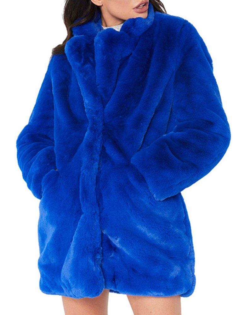 Women's Faux Rabbit Fur Jacket Warm Thick Outerwear Long Sleeve Loose Coat Bright Blue 2XL
