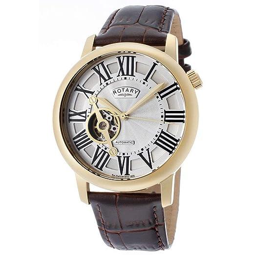 Rotary GLE000019/21 - Reloj analógico automático para Hombre, Correa de Cuero Color marrón: Amazon.es: Relojes