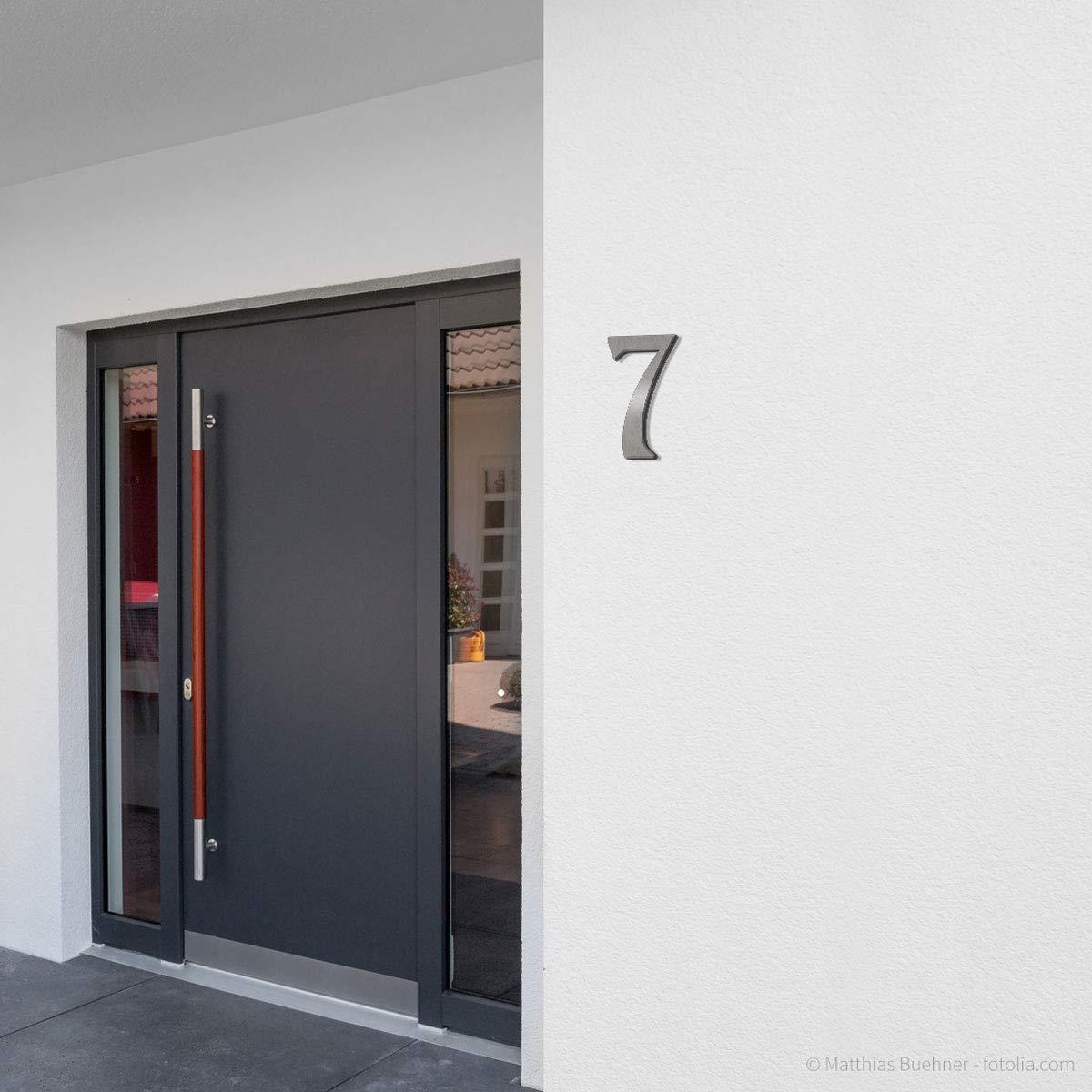 2 H: 160mm // 16cm Edelstahl geb/ürstet//geschliffen Thorwa/® verschn/örkelte Design Edelstahl Hausnummer Cabaletta Stil