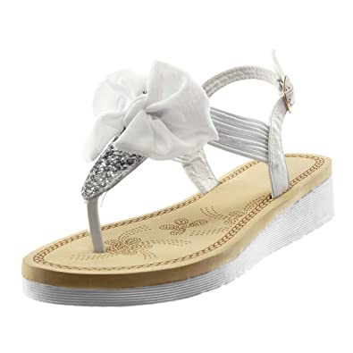 e92febfc3d1e8 Angkorly - Chaussure Mode Sandale Tong Plateforme lanière Cheville salomés  Femme Noeud Paillettes élastique Talon compensé