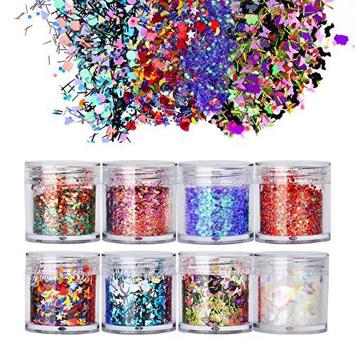 Biutee 8 Boxes Mix Shape Colorful Holographic Nail Glitter Sequins Nail Sequins 3D Glass Nail Art Foils Flakes Aurora Colorful Manicure Decoration