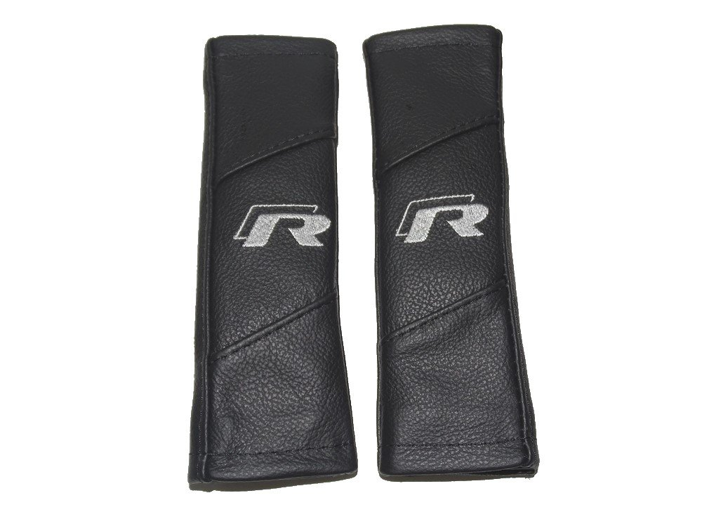 2 x Seat Belt Covers Pads Black Leather 'R-line' Style Embroidery The Tuning-Shop Ltd