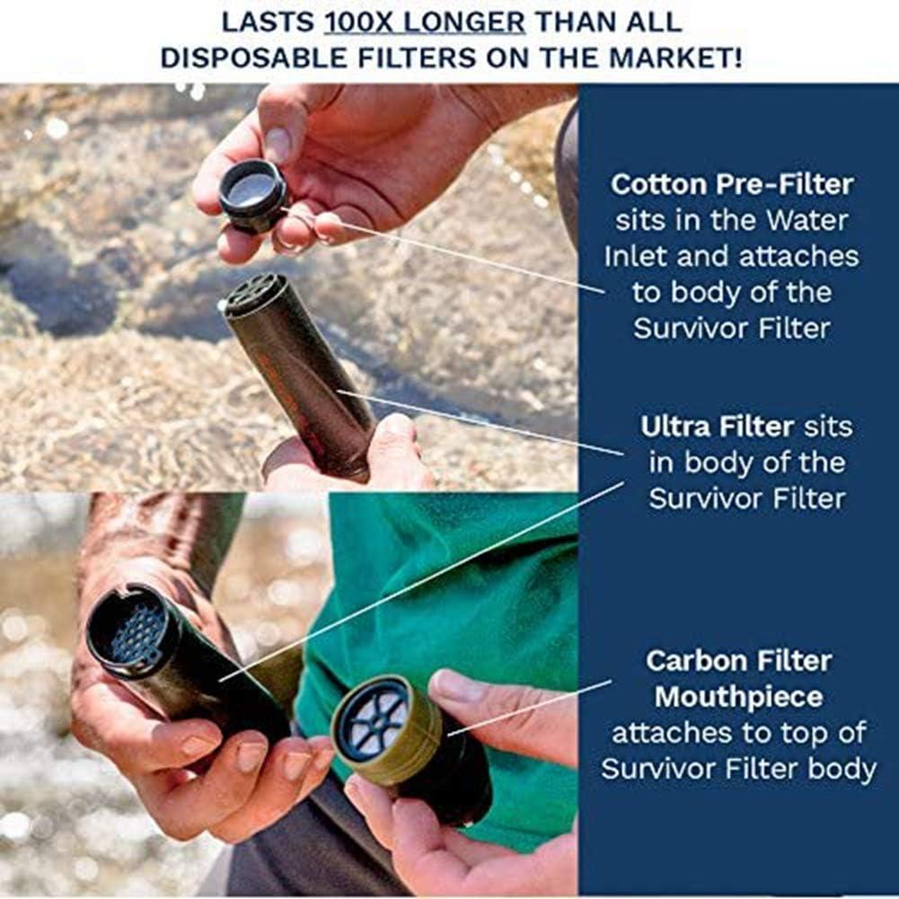 Ruby Lil - Filtro de agua portátil de 0,05 micras, con membrana Uf, filtro de carbono reemplazable que reduce los ...