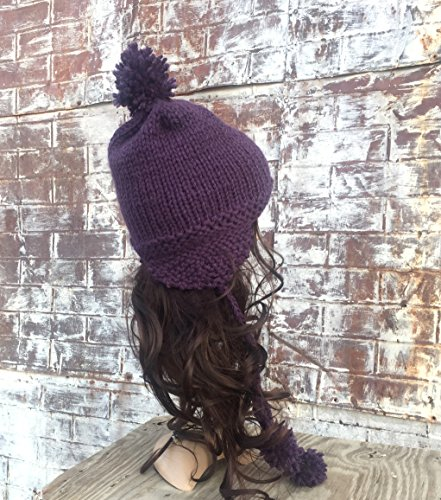 HAND KNIT WOOL AVIATOR TRAPPER HAT WITH POM POMS, Pick Your Color, Choose Your Hat, Hand Knit Hats, (Pom Trapper)