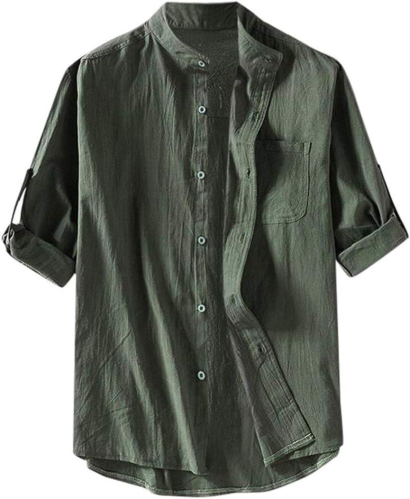 SoonerQuicker Camisa de Hombre Camisa Holgada de Lino y algodón Liso para Hombre Camisas de Media Manga de Talla Grande(Ejercito Verde M): Amazon.es: Ropa y accesorios