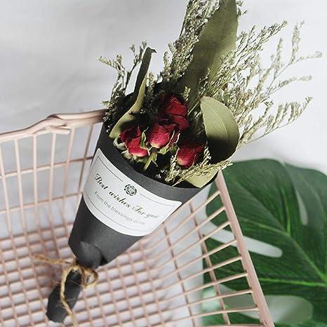 nologo Blumenstrau/ß getrocknet Rosenstrau/ß getrockneter Blumenstrau/ß Ornament Foto Prop Red Rose Eucalyptus