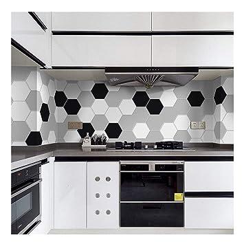 APSOONSELL Fliesenaufkleber Modern Schwarz Und Weiß Für Küche Und Bad  Dekorative Stickerfliesen Sechseck (Länge: