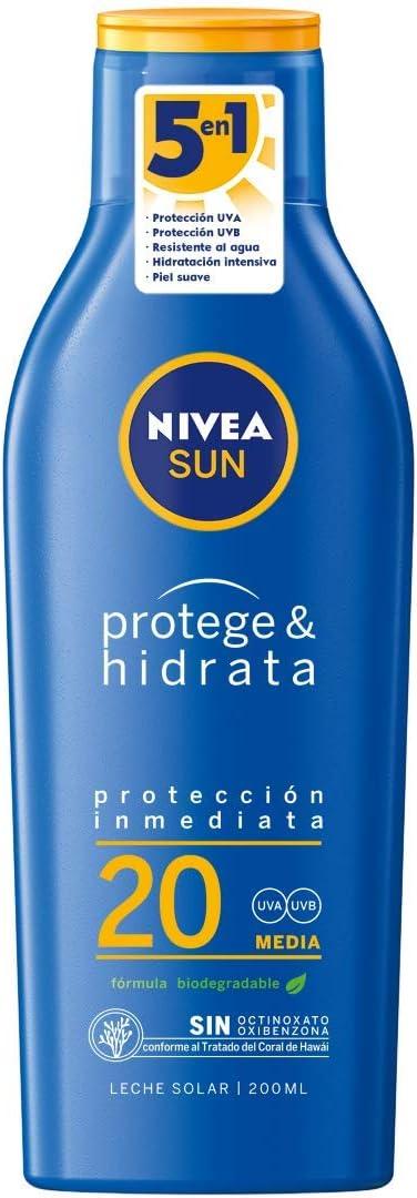 NIVEA SUN Protege & Hidrata Leche Solar FP20 (1 x 200 ml ...