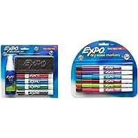 EXPO Dry Erase Marker Set, Chisel Tip, 6 Piece & Low Odor Dry Erase Markers, Fine Tip, Assorted Colors, 12 Pack - 86603