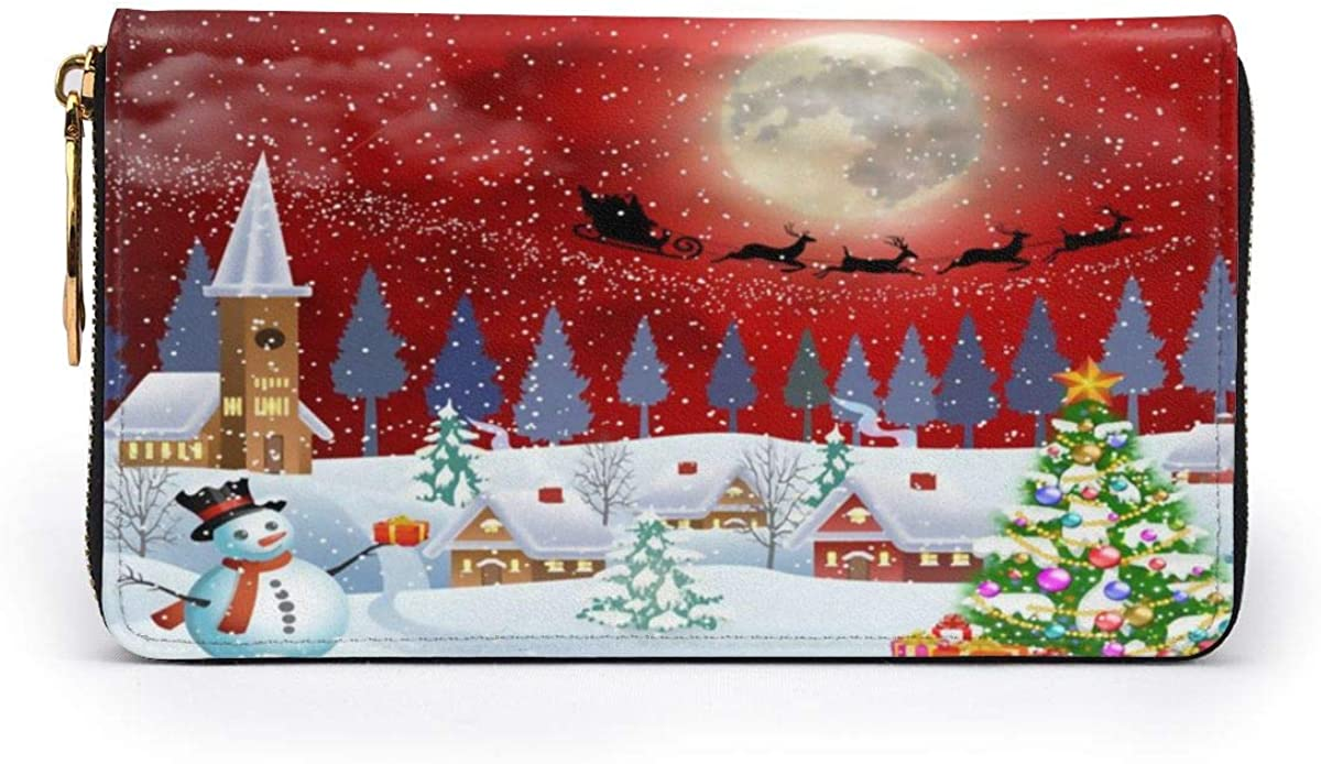 Christmas Snowman Tree Santa Clause Reindeer Women Men Long Wallet PU Leather Travel Purse Printed Zip Around Purse Case Card Holder
