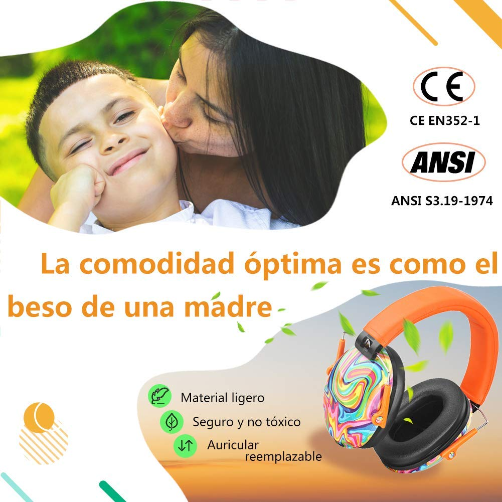 Protecci/ón para los o/ídos para ni/ños con autismo Graffiti Azul Protecci/ón para los o/ídos con bolso Auricular de seguridad para ni/ños PROHEAR Actualizaci/ón