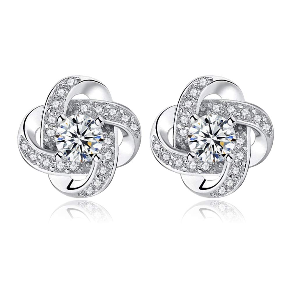CLEMENT & HILTON series Silver Earrings Studs Cubic Zirconia for women Piecered Earrings