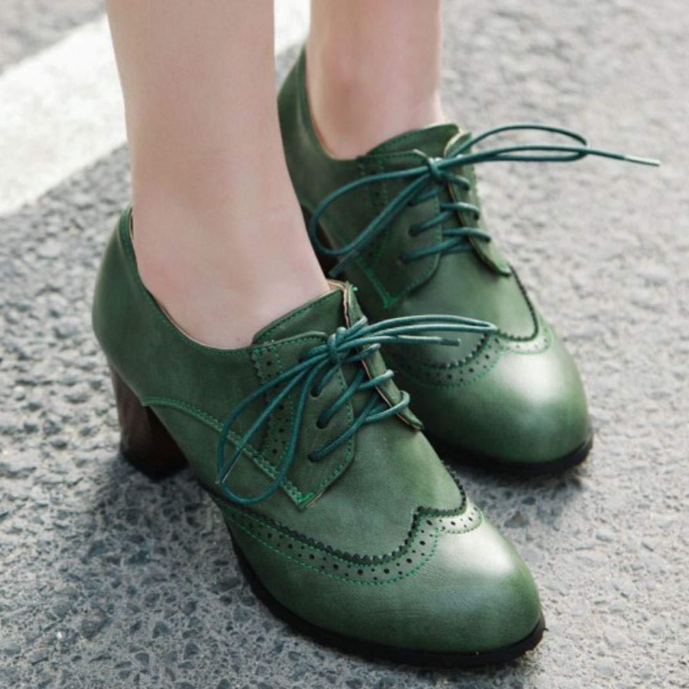 Lydee Mujer Cl/ásico Block Tacon Medio Oxford Zapatos