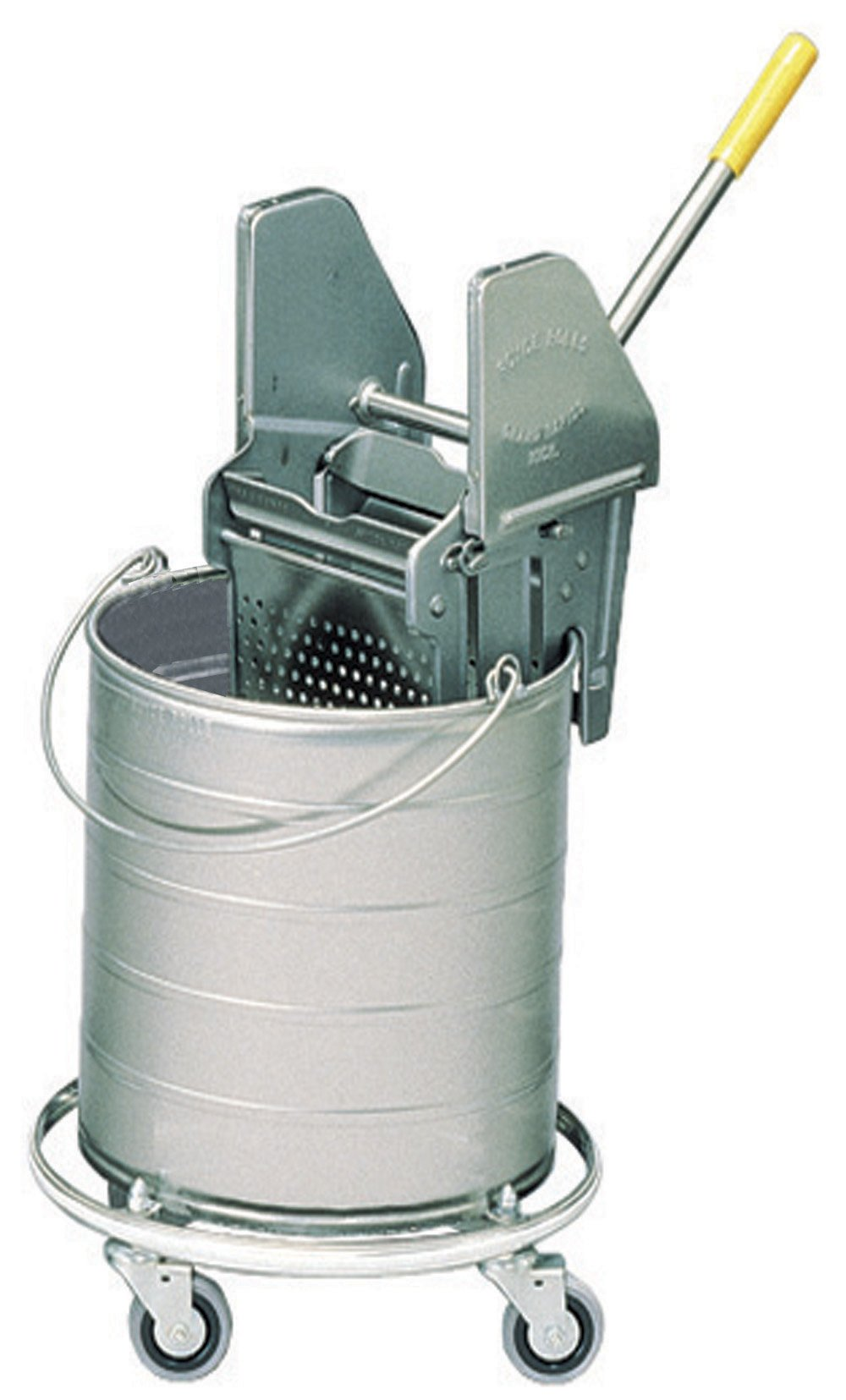 Royce Rolls Stainless Steel 10-Gallon Round Mop Bucket and 24-32 oz. Mop Wringer Combo on 3'' Casters - #4310
