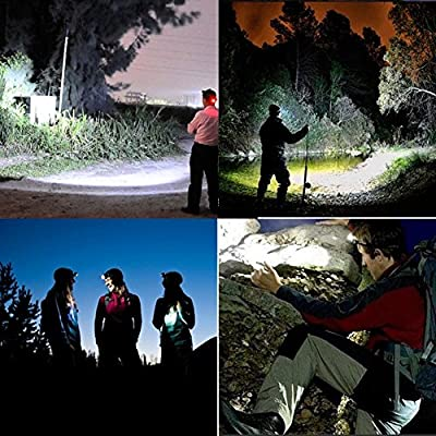 Dimmable Headlight for Camping WEKSI LED Headlamp Waterproof Outdoor Battery Powered Flashlight Torch Helmet Light for Running / Biking / Hiking / Reading
