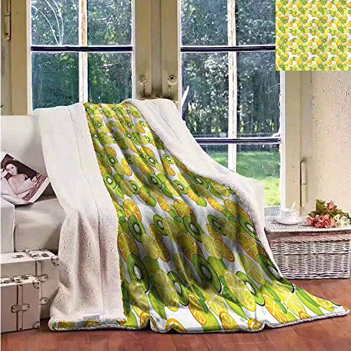 Sunnyhome Cashmere Velvet Fruits Kiwi Orange Lemon Slices Soft Blanket Microfiber ()