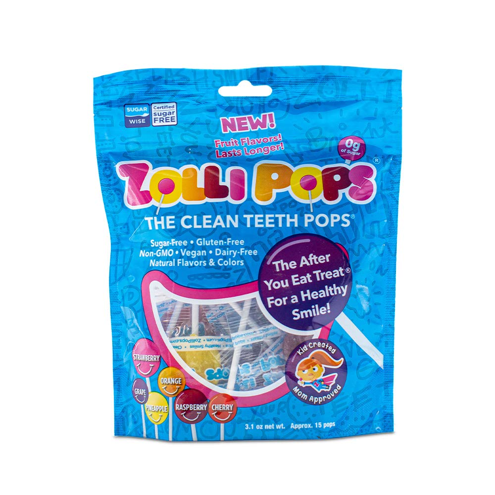Zollipops Clean Teeth Lollipops AntiCavity Sugar Free Candy with Xylitol for a Healthy Smile Great for Kids Diabetics and Keto Diet oz Bag, Natural Fruit Variety, 3.1 Ounce